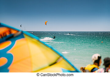 Kite surfing in Tarifa, Spain. Tarifa is most popular places in Spain for kitesurfing