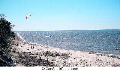 Kite surfing on Dnieper, Ukraine