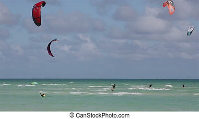 Kite surfing on the coast of Cuba. Island of Cayo Guillermo...