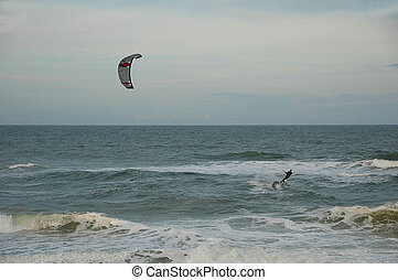 Kite surfing - kite surfer photographed on the atlantic...