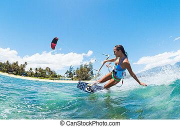 Kite Surfing - Kite Boarding, Fun in the ocean, Extreme...