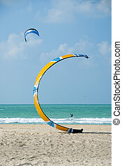 Kite-surfing at Jumeirah, Dubai, United Arab Emirates