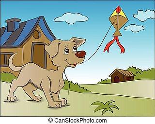 kite., vliegende hond, vector