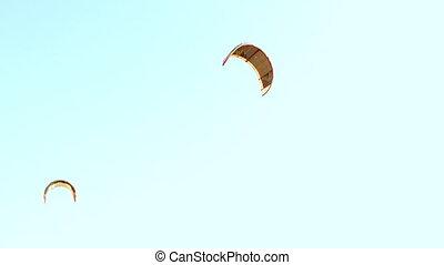 kite wing over blue sky