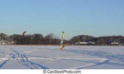 kiteboard ice sail people