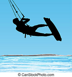 Kiteboarder aerial jump silhouette on a water and blue sky...