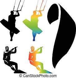 Kiteboarding - Illustration Icons of Kiteboarding. Extreme...