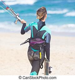 kiteboarding, equipment., kiteboarder, femme