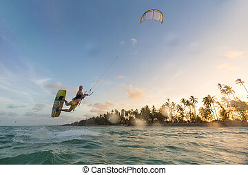 kiteboarding., ocean., kitesurfing., amusement, sport, extrême