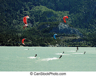 Kiteboarding on the sea