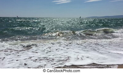 Kiteboarding On Waves In Sea, Kite Surfing, Extreme Sport, Fun in the ocean