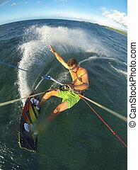 kiteboarding, pov, aktiv, fotoapperat