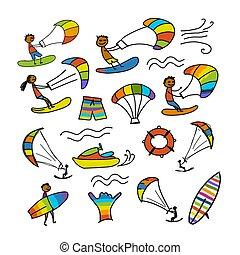 Kiteboarding, sketch for your design. Vector illustration