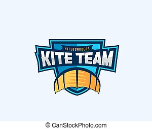 Kiteboarding Team Sport Emblem. Kite Symbol on a Shield with...