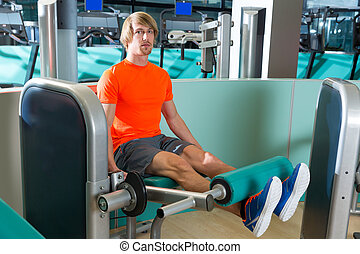 kiterjedés, láb, tornaterem, tréning, gyakorlás, ember