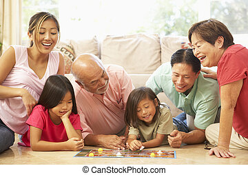 kiterjedt, csoport, család, játéktábla, otthon, játék