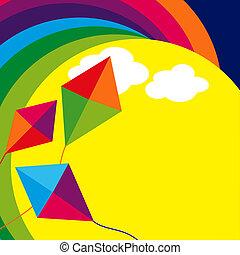 Rainbow background with kites