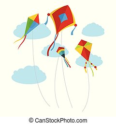 Kites fly in the sky background, flat style
