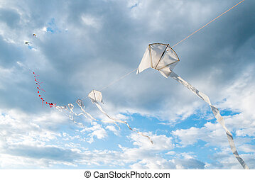 kites in a row flying