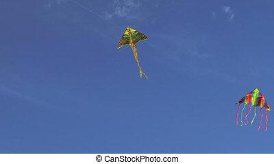 Kites in the blue sky