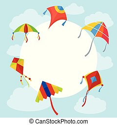 Kites in the sky background, flat style