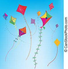 Kites in the sky funny background