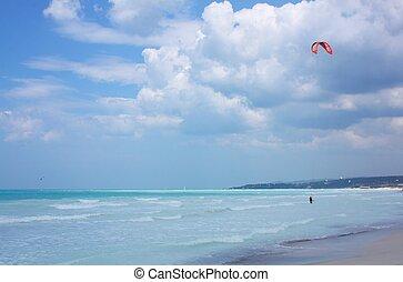 Kitesurf water sport in the sea