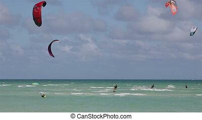 kitesurfen, auf, der, kueste, von, kuba