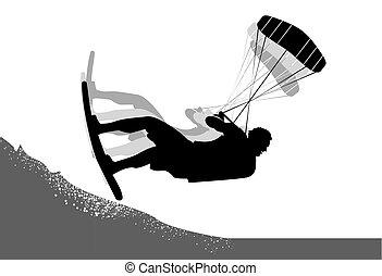 Kitesurfer action silhouette - Extreme kite surfer...