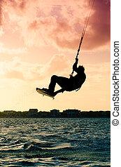 kitesurfer, flygning, silhuett