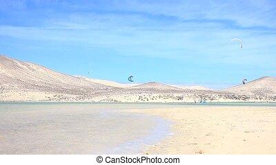 Kitesurfer in action on Fuerte