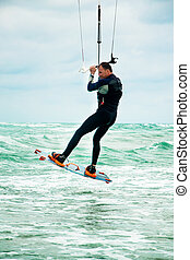 Kitesurfer in Black sea, Crimea