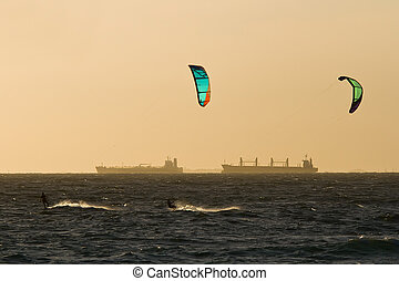 Kitesurfers - View of a pair of kitesurfers just before...