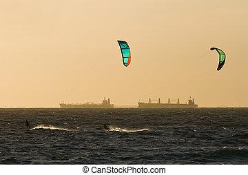 Kitesurfers - View of a pair of kitesurfers just before ...