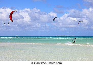 kitesurfing, auf, der, kueste, von, cuba., cayo, guillermo,...