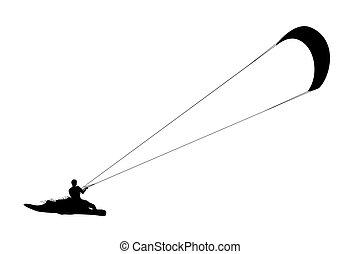 Kitesurfing black silhouette. Man riding wakeboard with...