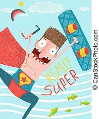 Kitesurfing caricature superman cartoon card design - Hero...