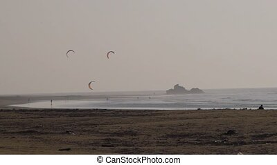 Kitesurfing in the evening, Morocco