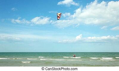 Kitesurfing in the sea