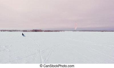 Kitesurfing in the winter on snowboard or ski. Skating on...