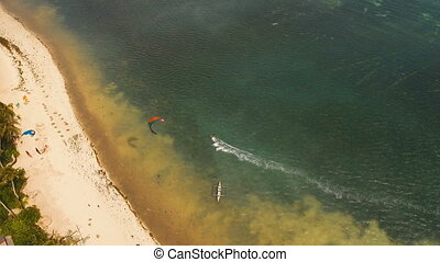 Kitesurfing on island Boracay and Bulabog Boracay island Philippines.