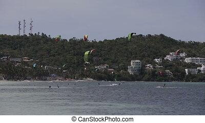 Kitesurfing on island Boracay and Bulabog