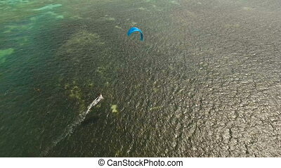 Kitesurfing on island Boracay and Bulabog Boracay island Philippines.