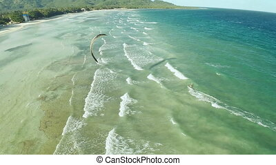 Kitesurfing on the coast of the Philippines. Aerial views 5.