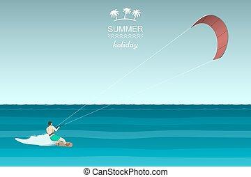 Kitesurfing retro illustration. Man riding wakeboard with...