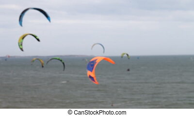 Kitesurfing sports for active people - Kite surfing on the...
