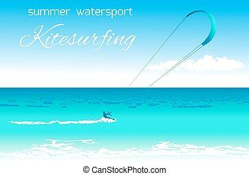 Kitesurfing summer watersport concept - Sea kite on tropical...