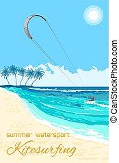 Kitesurfing summer watersport poster - Sea kite on tropical...