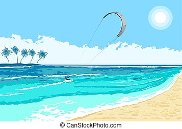 Kitesurfing summer watersport seaside - Kitesurfing summer...