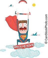 Kitesurfing superhero trick cartoon in costume - Scared...
